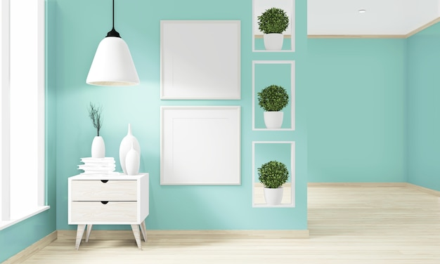 Empty room mint wall with blank photo frame, floor wooden interior design. 3d rendering