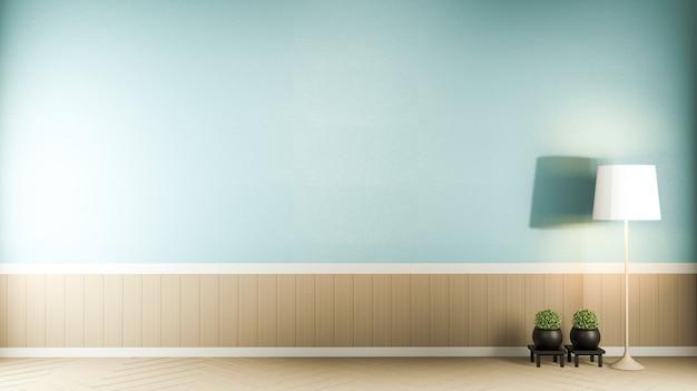 Empty room mint on wooden floor interior design.3d rendering