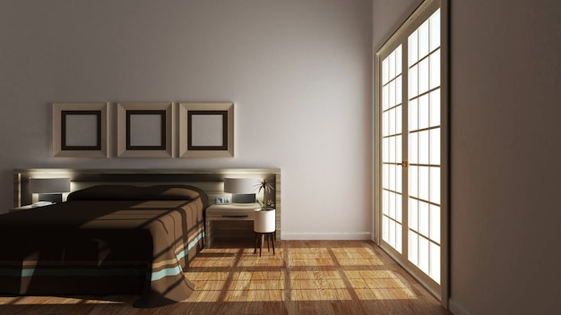 Empty room - modern bed room interior. 3d rendering