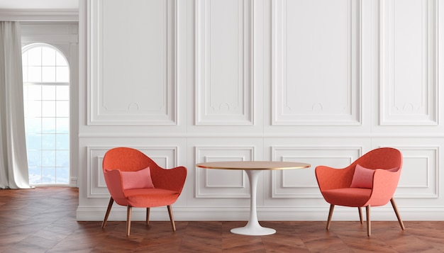 白い壁、赤いアームチェア、テーブル、カーテン、窓のある空の部屋のモダンでクラシックなインテリア。 3dレンダリングのイラスト。