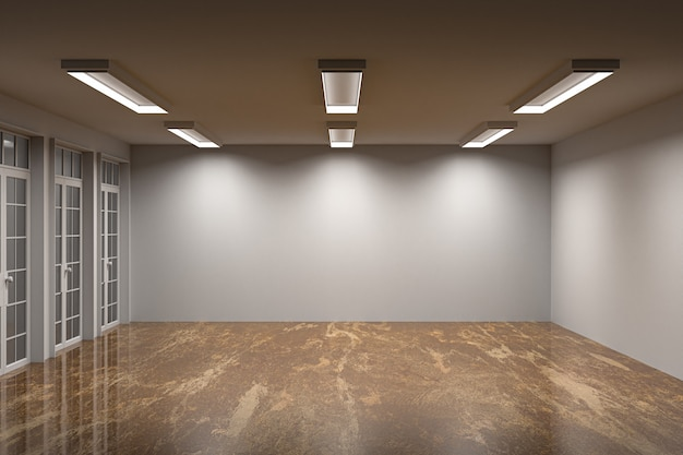 Empty room multiple wall color with marble floor and beautiful light , 3d rendering