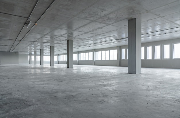 Empty room office space building with cement material structure