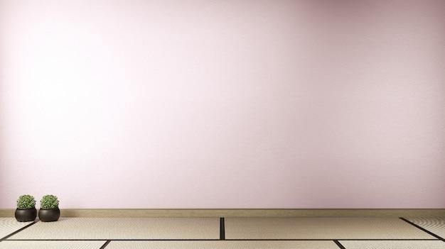 Empty room pink sakura on wooden floor interior design.3d rendering