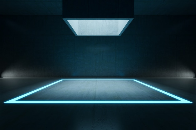 Empty room,  rectangle light mock up and  concrete wall. abstract architecture background.