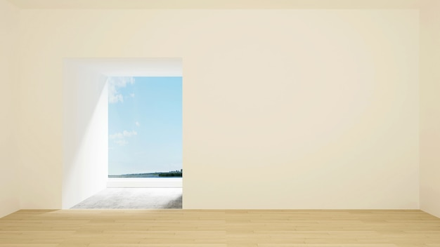 Empty room and sea view for artwork