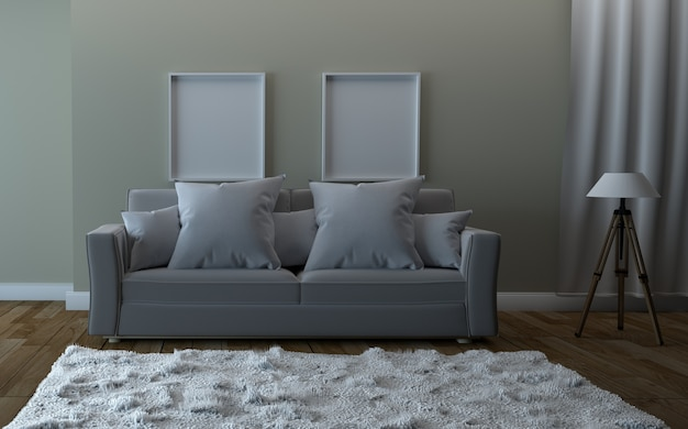 Empty room , sofa and carpet, tropical style. 3d rendering