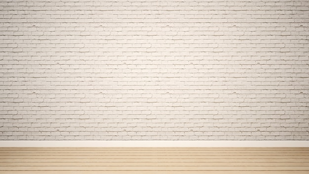 Empty room and white brick wall in apartment or home - 3d render
