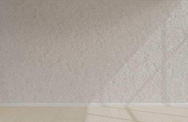 朝の陽光と空の部屋の白いレンガの壁のミニマリストスタイル。