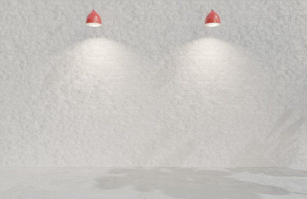 空の部屋の白いレンガの壁のミニマリストスタイル。