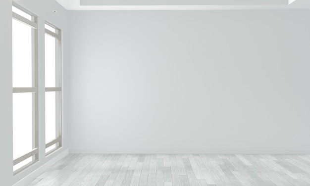 Empty room white wall on white wooden floor. 3d rendering