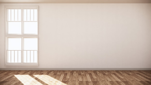 Empty room white on wooden floor interior design. 3d rendering