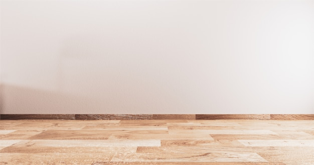 Empty room white on wooden floor interior