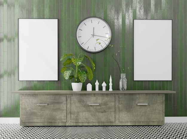 Empty room with a 2 canvas mockup