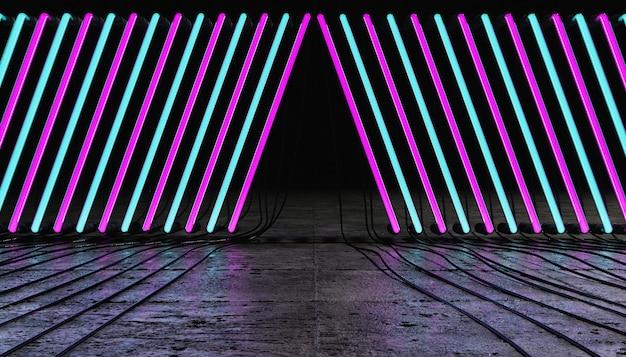 바닥에 전선이있는 분홍색과 파란색 네온 램프 라인이있는 빈 방