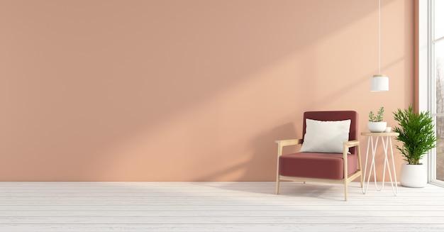안락 의자와 밝은 오렌지색 벽, 흰색 나무 바닥이 있는 빈 객실입니다. 3d 렌더링