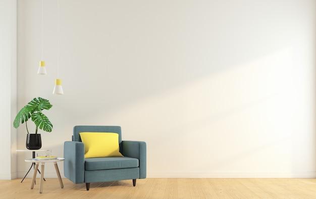 안락의자와 사이드 테이블, 흰색 벽, 나무 바닥이 있는 빈 객실입니다. 3d 렌더링