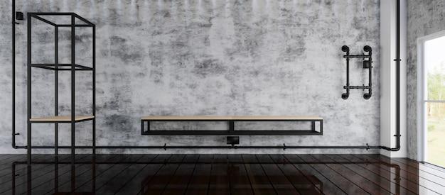 Пустая комната с большим окном в стиле лофт. 3d визуализация.