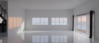 Empty room with big window in loft style. 3D render.