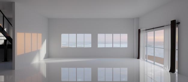 로프트 스타일의 큰 창이있는 빈 방. 3d 렌더링.