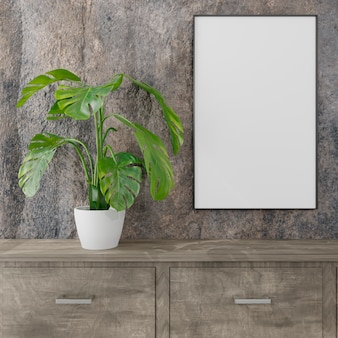 Empty room with a blank canvas mockup