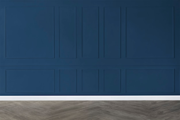 Empty room with blue patterned wall mockup