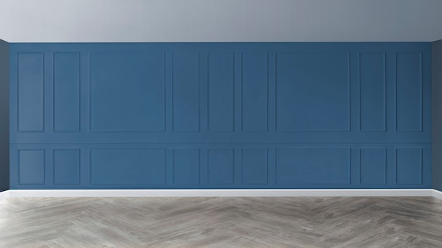 Empty room with blue patterned wall