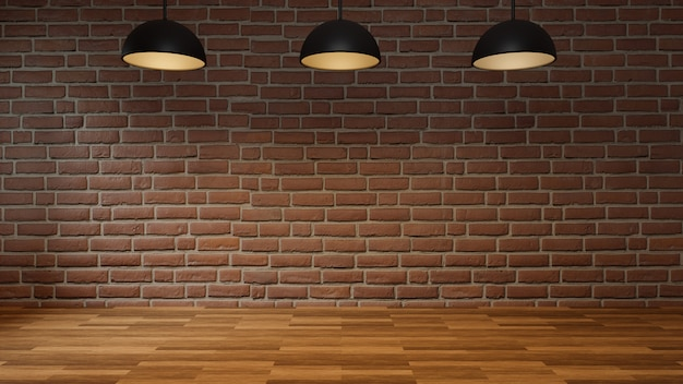 Empty room with brick wall wooden floor and modern ceiling lamp. interior loft style, 3d rendering.