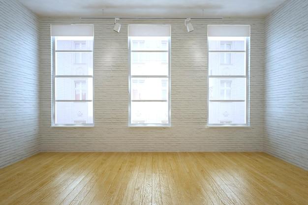 レンガの壁のある空の部屋