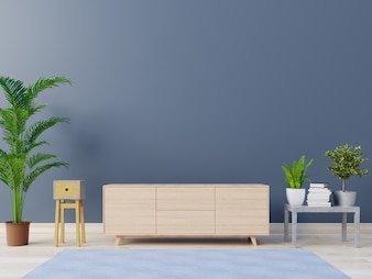 Empty room with cabinets and shelves with back dark wall ,3D rendering