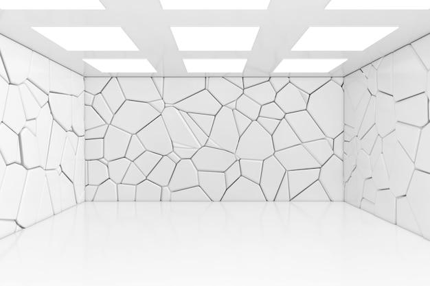 셀 빛과 돌 벽 극단적인 근접 촬영으로 빈 방. 3d 렌더링