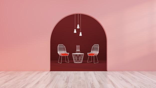 椅子とコーヒーテーブルと空の部屋