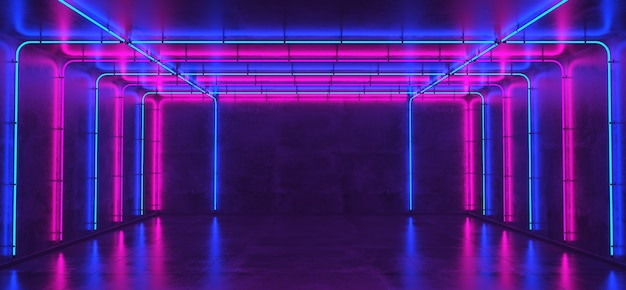 Empty room with concrete walls and neon lights