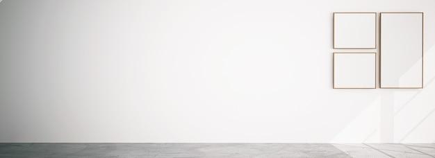 흰색 배경에 프레임 그룹이 있는 빈 방, 복사 공간이 있는 3d 모형 배경.
