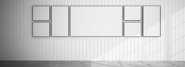 Empty room with frame group on white background, 3d mockup background with copy space.