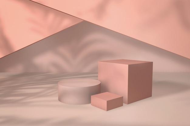 幾何学的な形のスタンドと空の壁のある空の部屋製品のリアルな3dイラスト