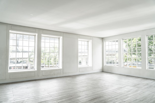 Empty room with glass window