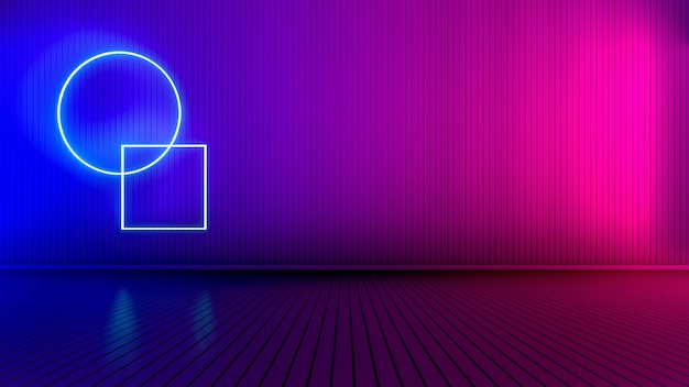 Empty room with glowing lines. interior background with glowing lines. neon lights. 3d rendering