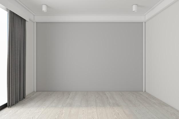 Пустая комната с серой стеной и деревянным полом серый занавес 3d рендеринг