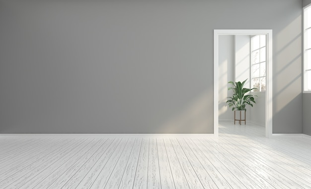 Empty room with gray wall and white door
