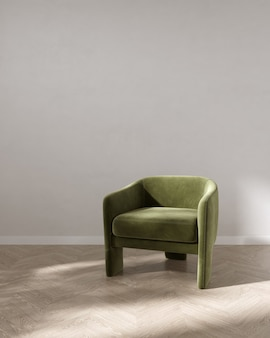 Empty room with green armchair interior background 3d rendering