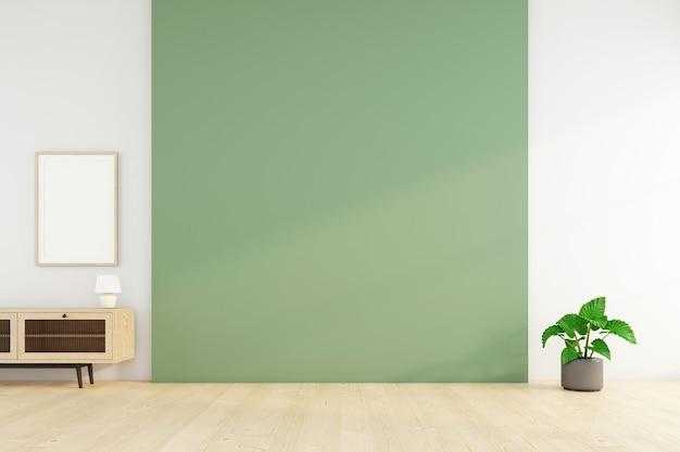 녹색 벽과 녹색 식물이 있는 빈 방. 3d 렌더링