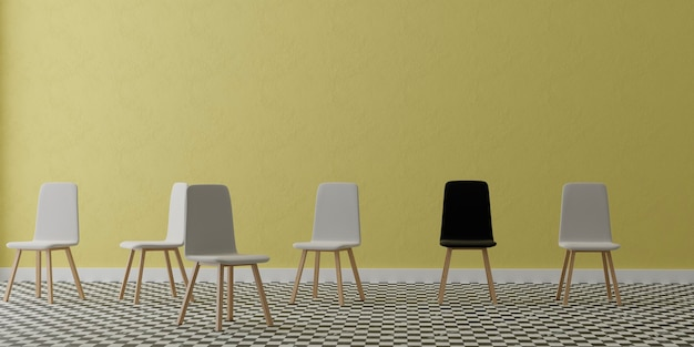 Empty room with  group of chairs with yellow wall, 3d illustration
