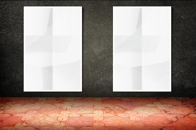 검은 돌 벽과 빈티지 패턴 벽돌 바닥에 빈 구겨진 흰색 포스터 매달려 빈 방