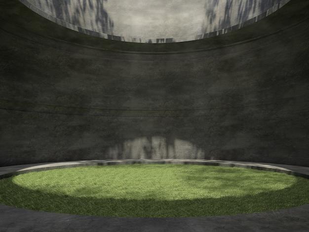 ラテラルライトと壁に木の影と空の部屋