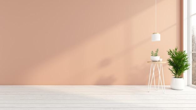 밝은 주황색 벽과 흰색 나무 바닥이 있는 빈 방입니다. 3d 렌더링
