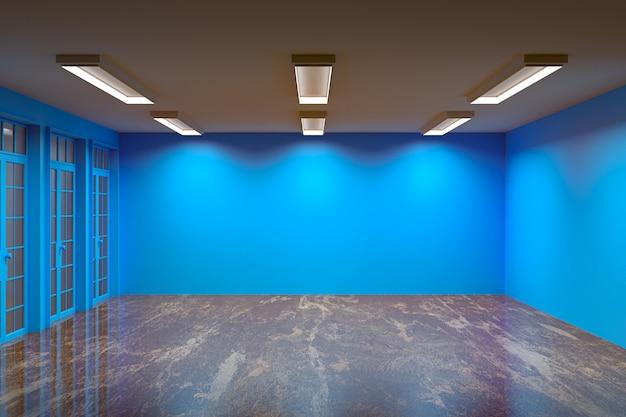 Пустая комната с мраморным полом и красивым светом, 3d-рендеринг
