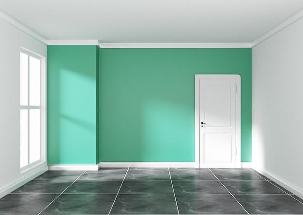Empty room with mint wall on black granite floor. 3d rendering