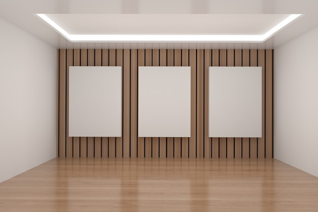Empty room with mock up frame in 3d rendering