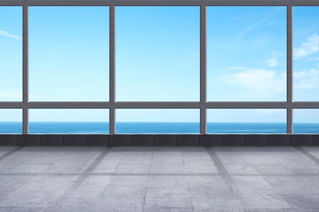 바다 전망과 푸른 하늘 배경이 있는 빈 방