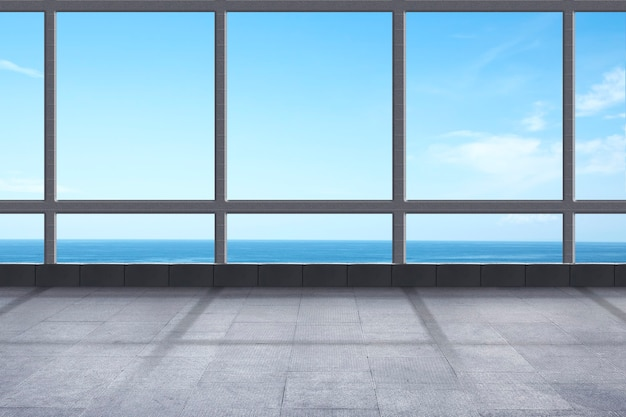 Empty room with ocean view and blue sky background